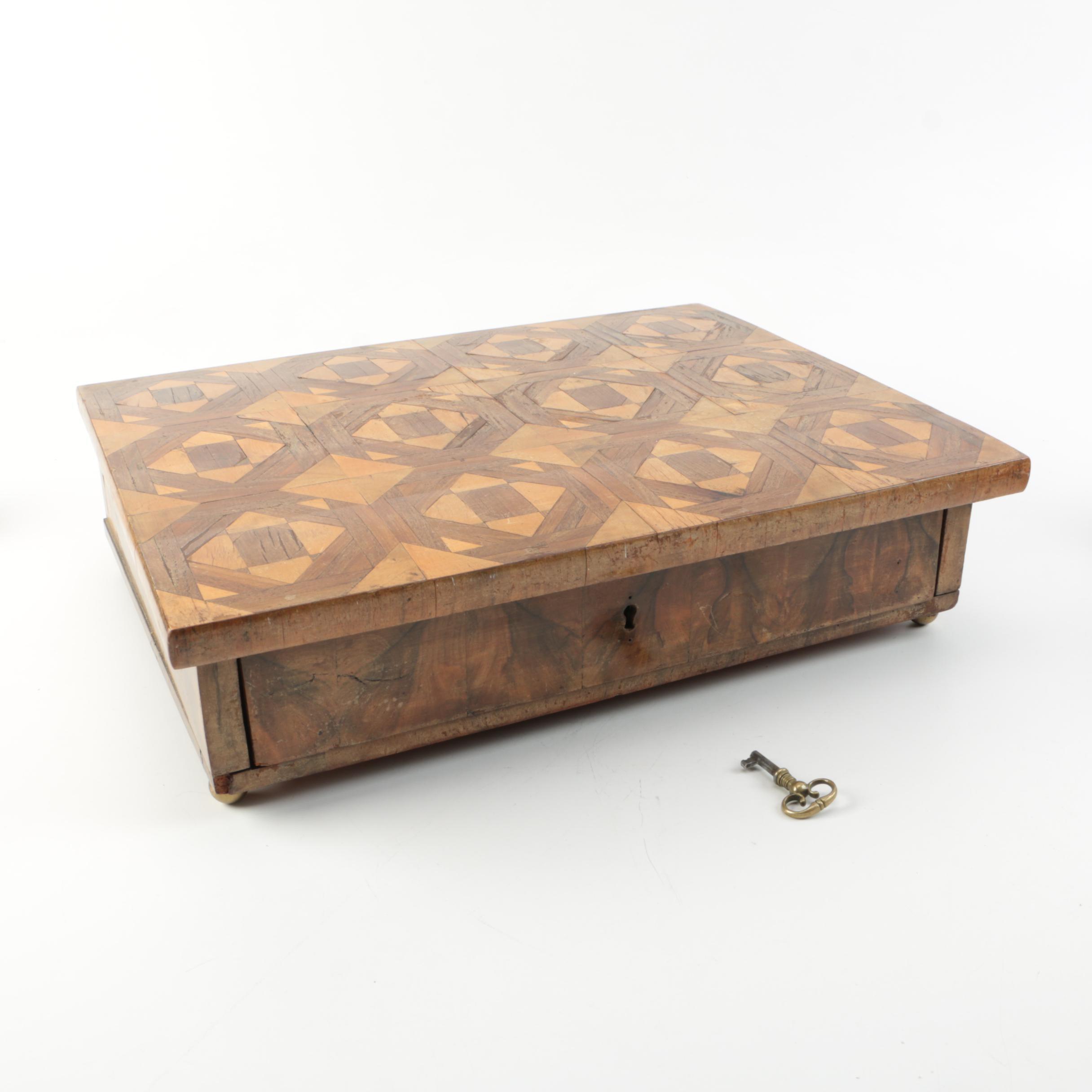 vintage mixed wood trinket box