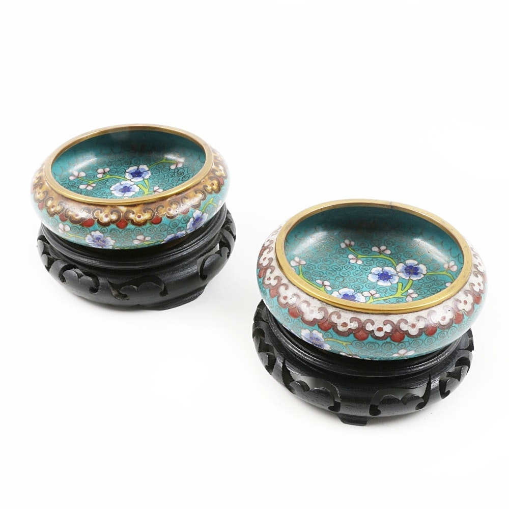 Pair of Vintage Chinese Cloisonné Enamel Shallow Bowls