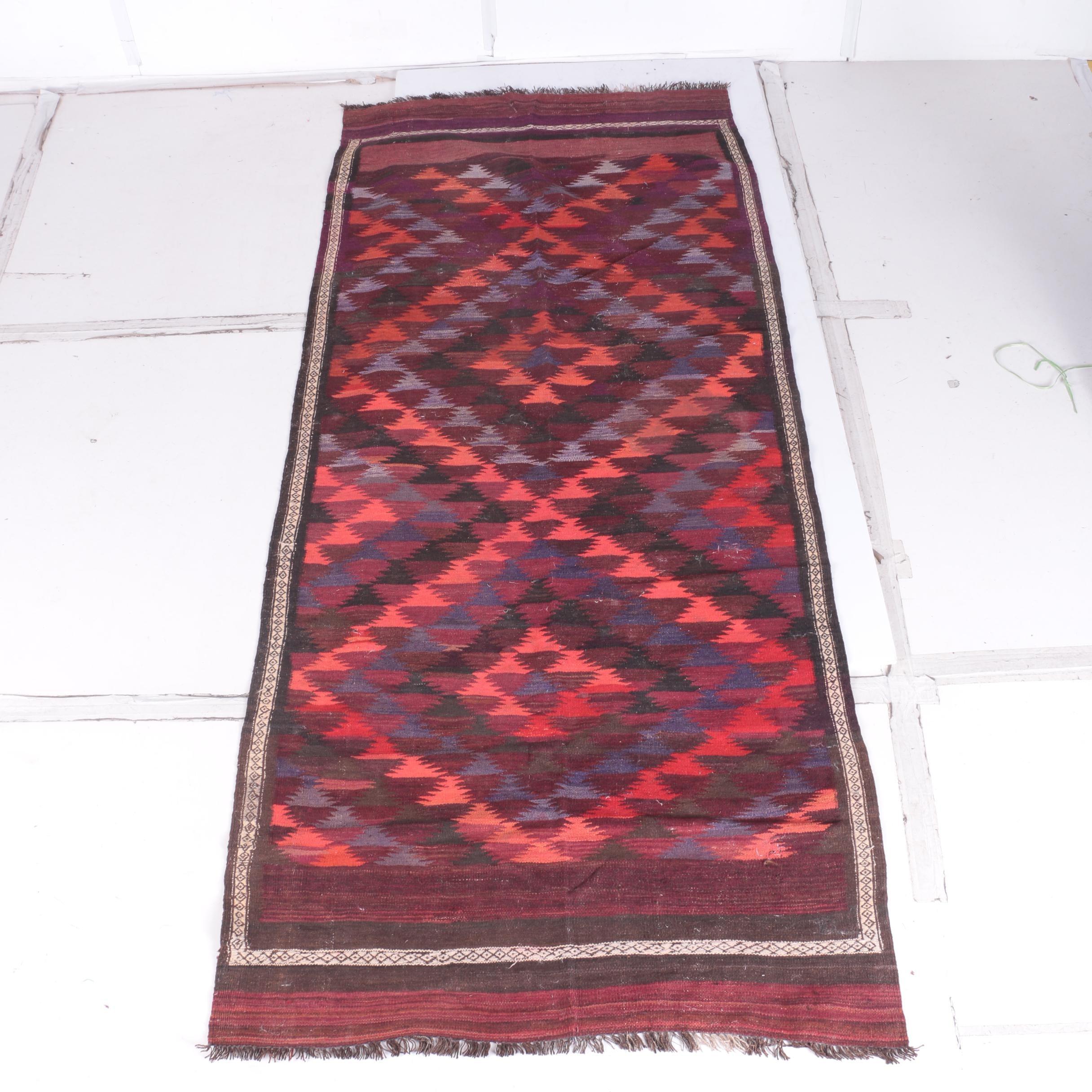Handwoven Turkish Kilim Wool Carpet Runner