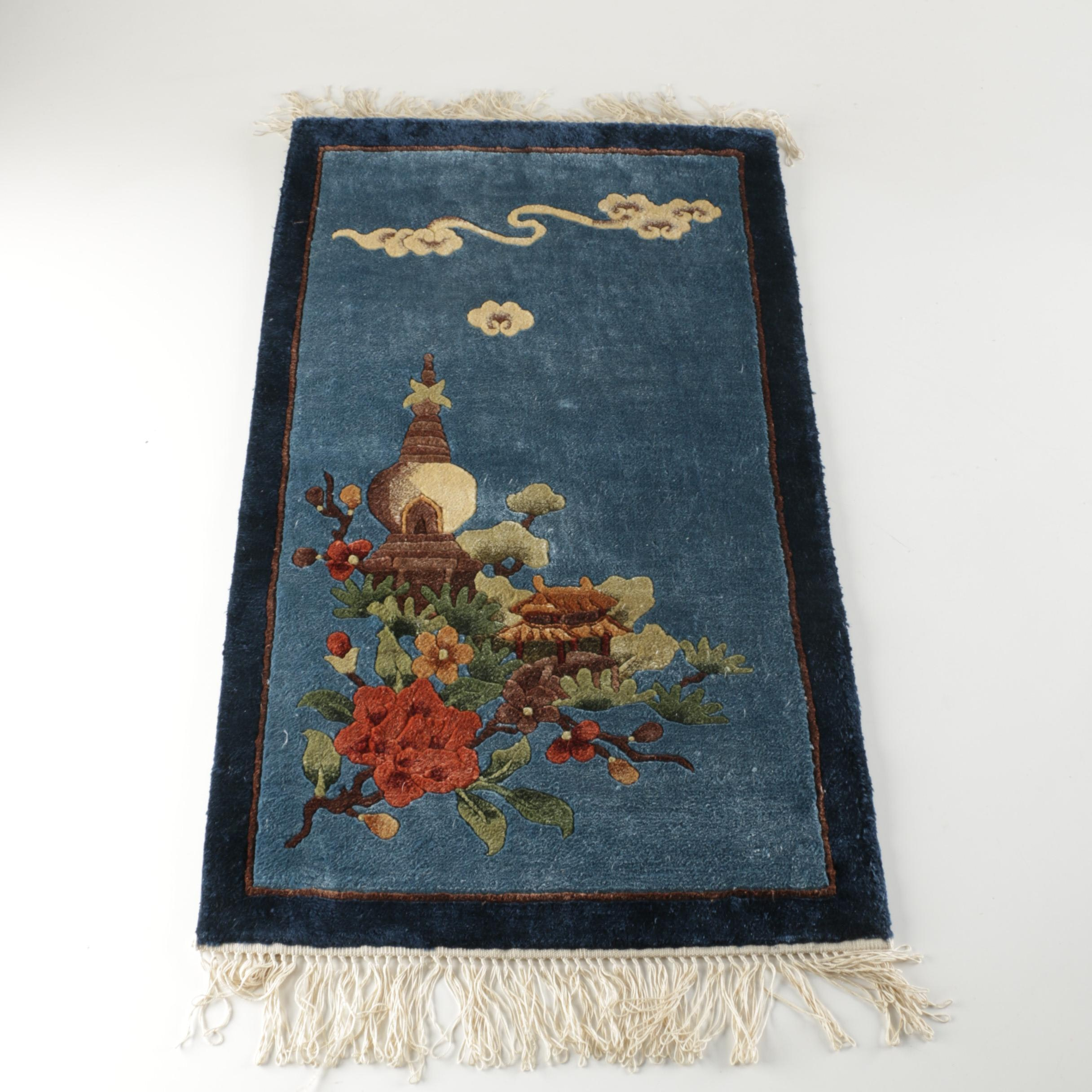 Hand-Knotted Chinese Carved Silk Accent Rug