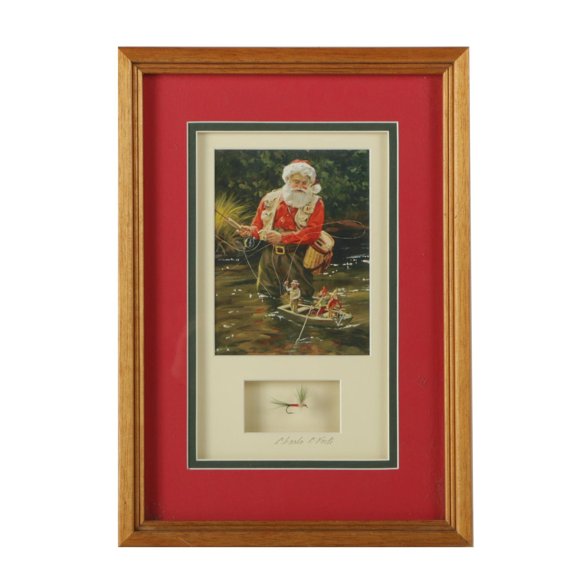 Christmas Wall Hanging Featuring a Reproduction Print After Tom Browning