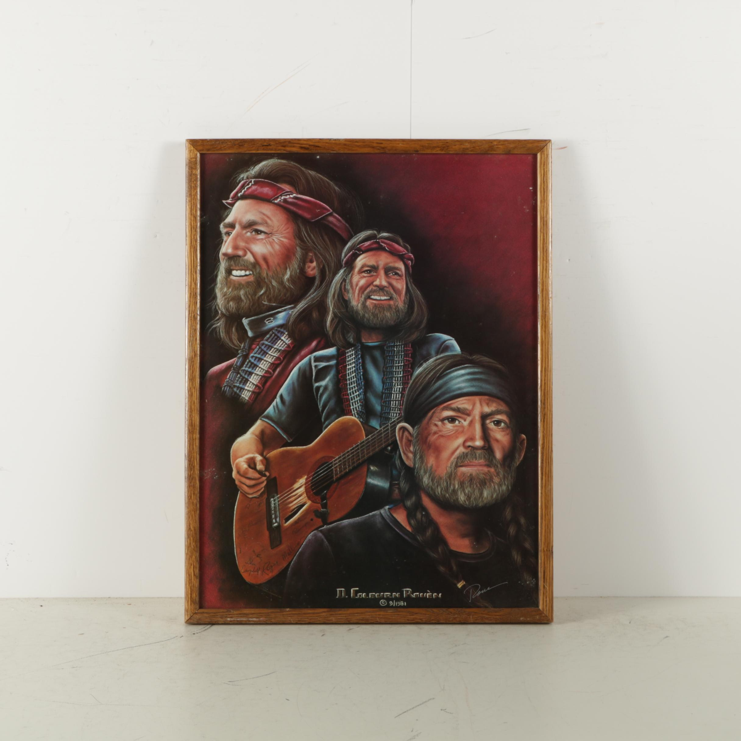 D. Colburn Rouen Poster on Paper of Willie Nelson