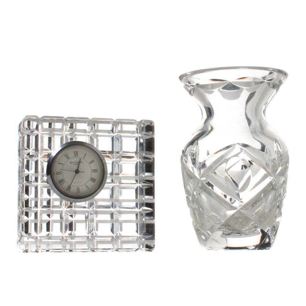 Waterford Crystal Bud Vase and Clock