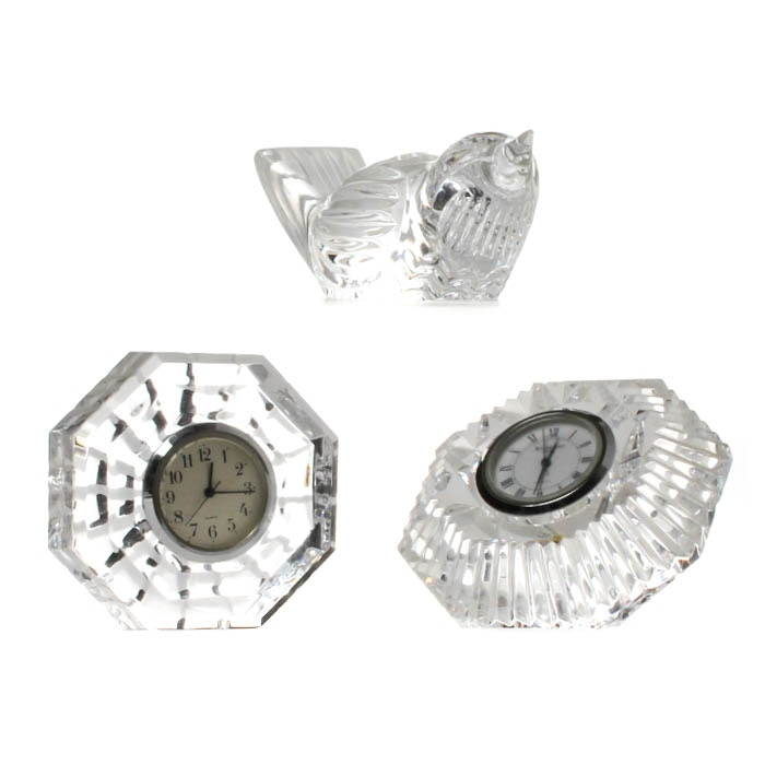 Waterford Crystal Clocks and Song Bird Figurine