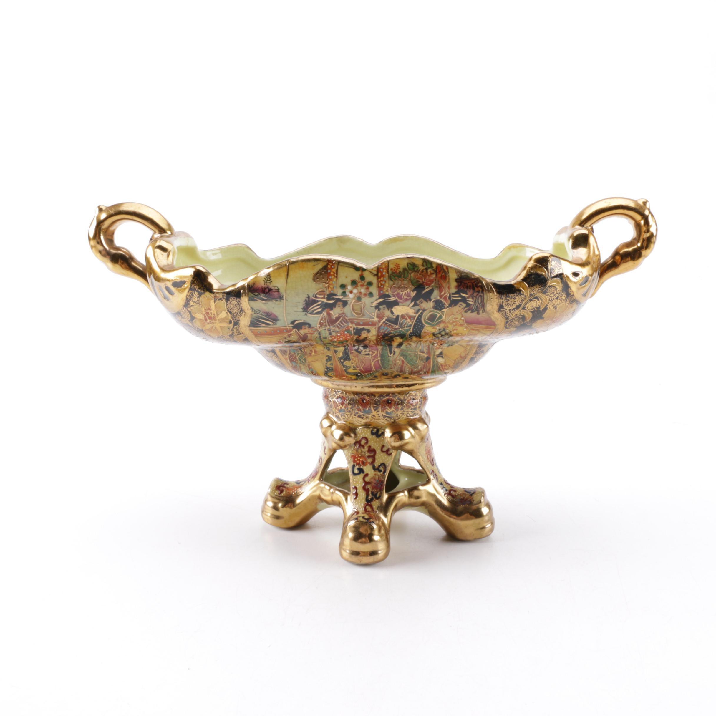 Chinese Satsuma Style Ceramic Centerpiece