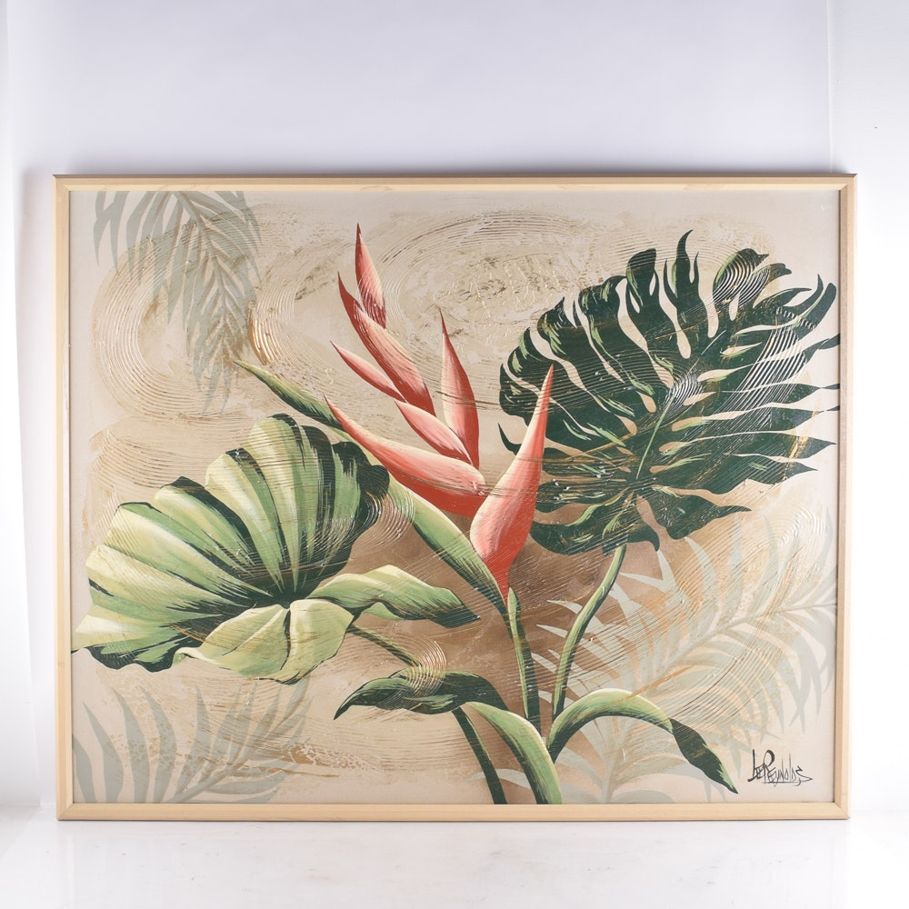 Lee Reynolds Acrylic Painting on Canvas of Tropical Botanicals