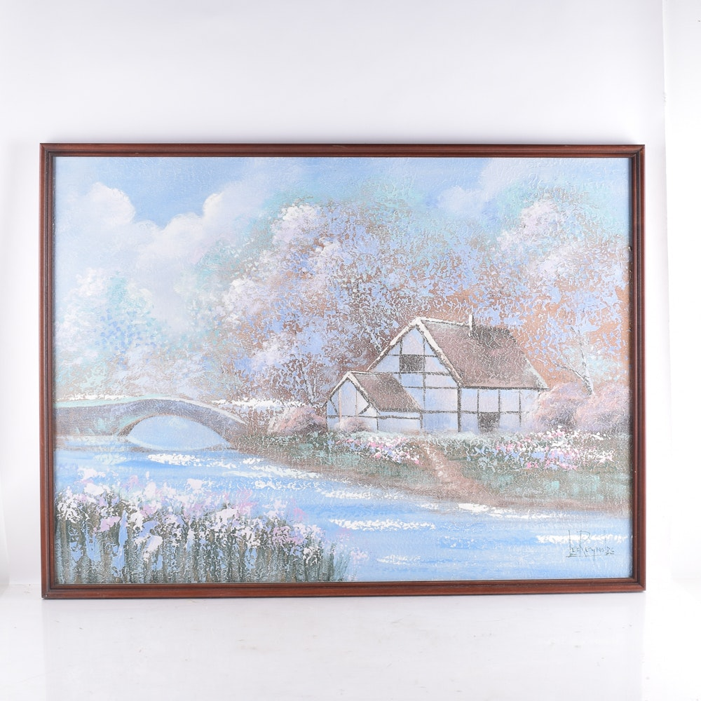 Lee Reynolds Acrylic Painting of a Pastoral Landscape