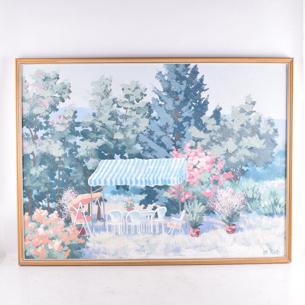 Lee Reynolds Acrylic Painting on Canvas of a Garden Scene