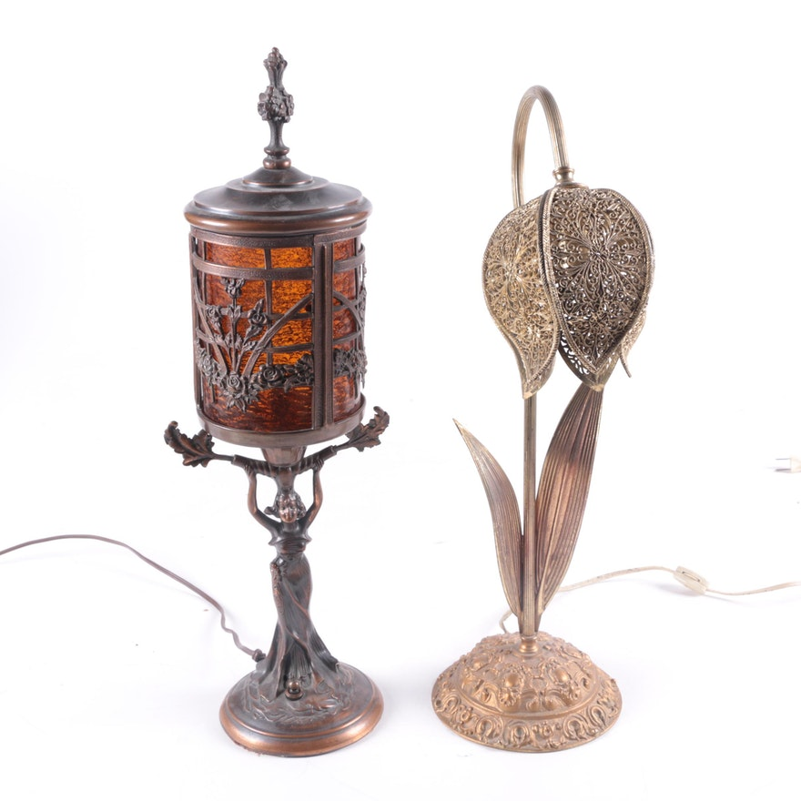 Vintage Art Nouveau Tulip And Lantern Lamps