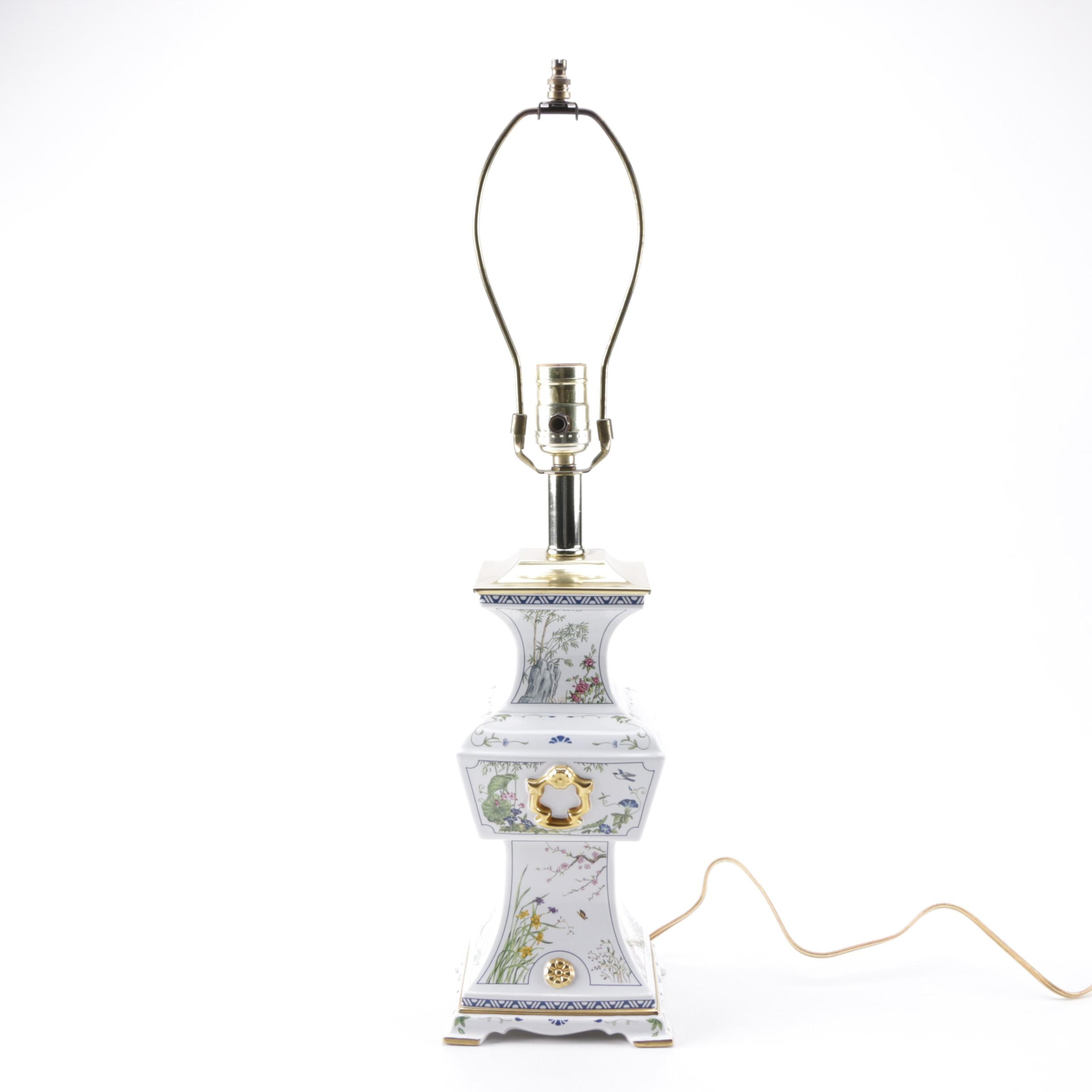 The Franklin Mint Asian Inspired Porcelain Table Lamp