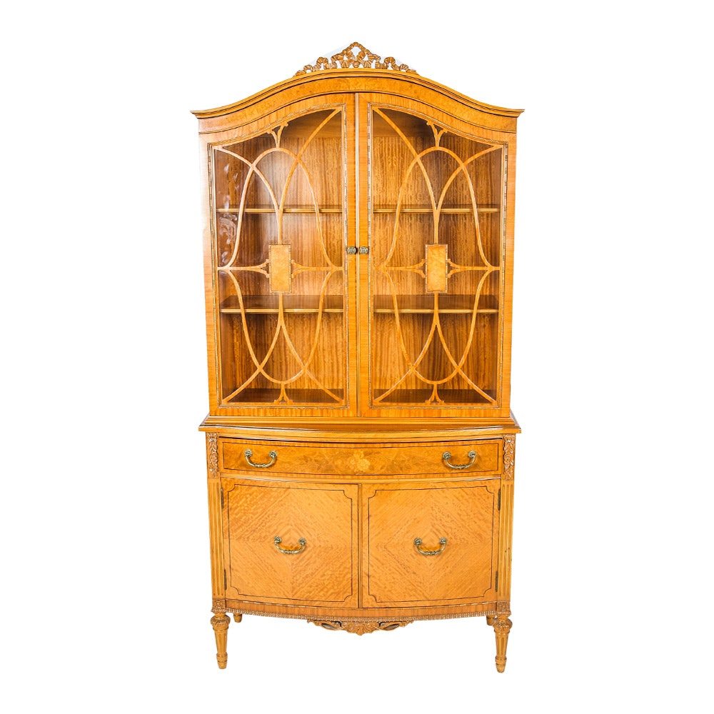 Vintage Federal Style Maple China Cabinet By Northern Furniture Company ...