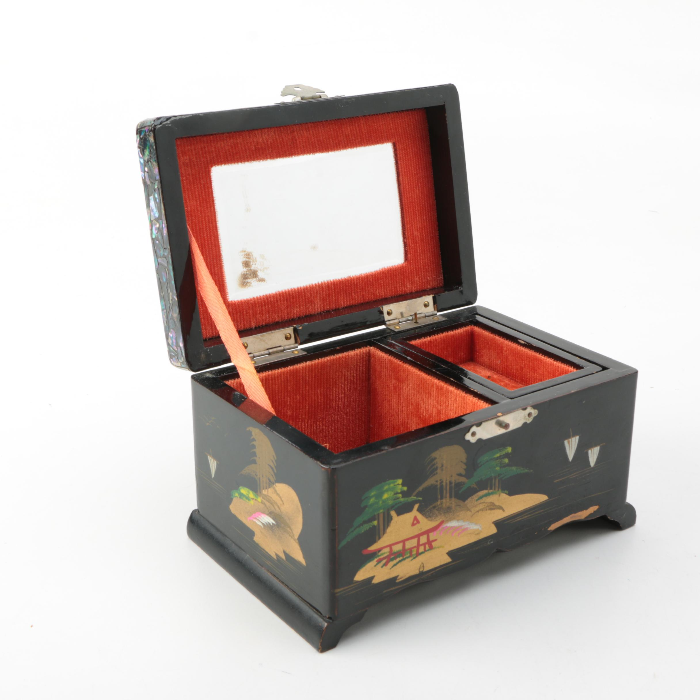 Japanese Abalone Inlay Jewelry Box EBTH