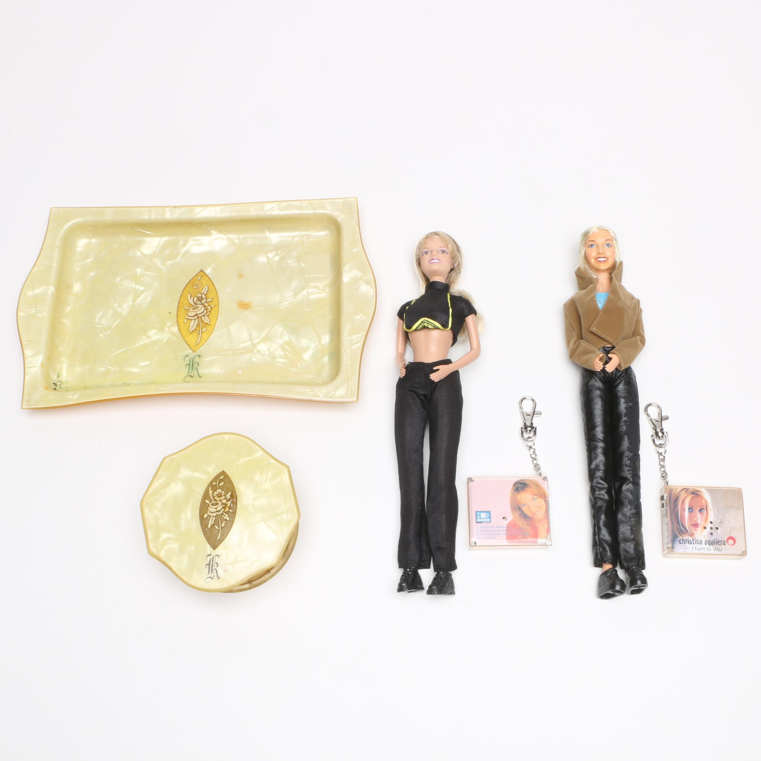 Vintage Celluloid Trinket Box Set and Two Popstar Dolls