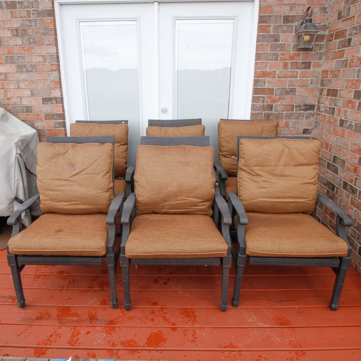 Cast Aluminum Patio Dining Chairs with Sunbrella Cushions