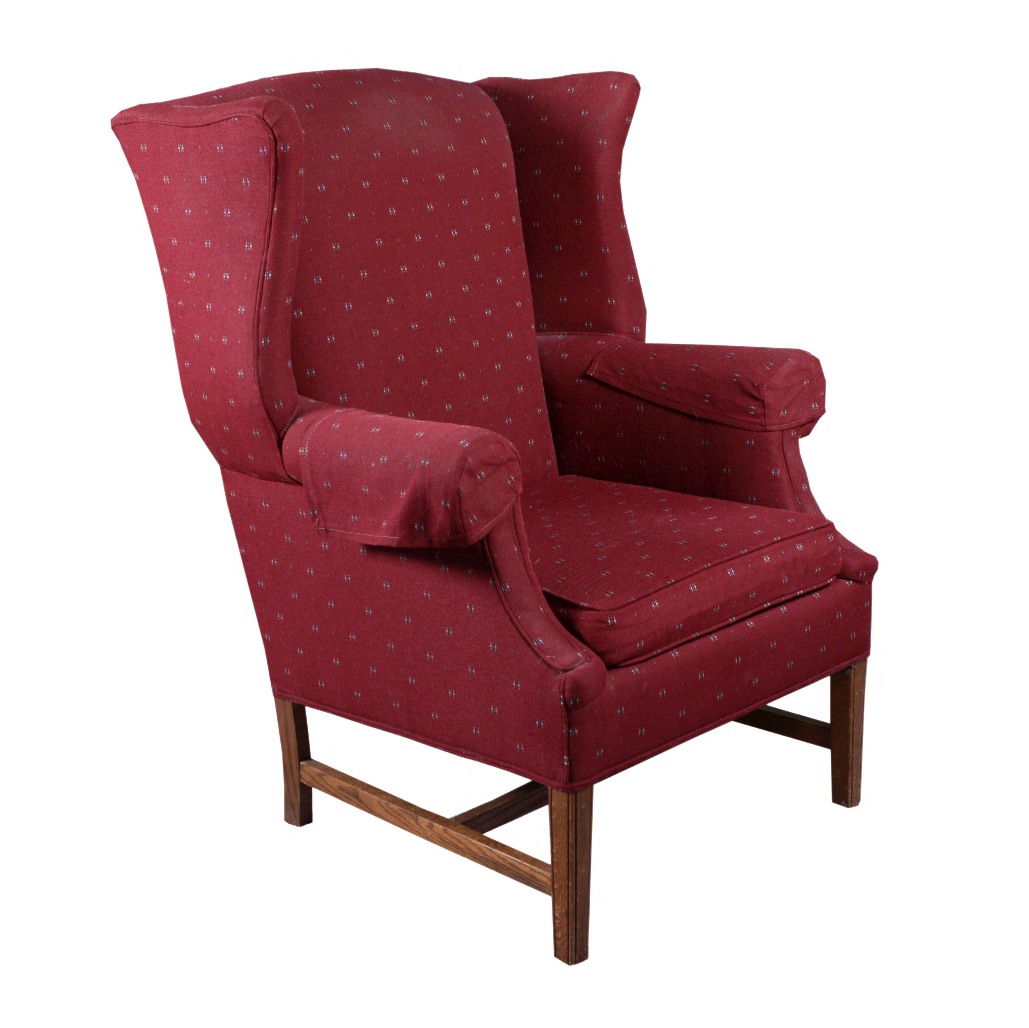 Red Upholstered Wingback Chair by Encore Chairs