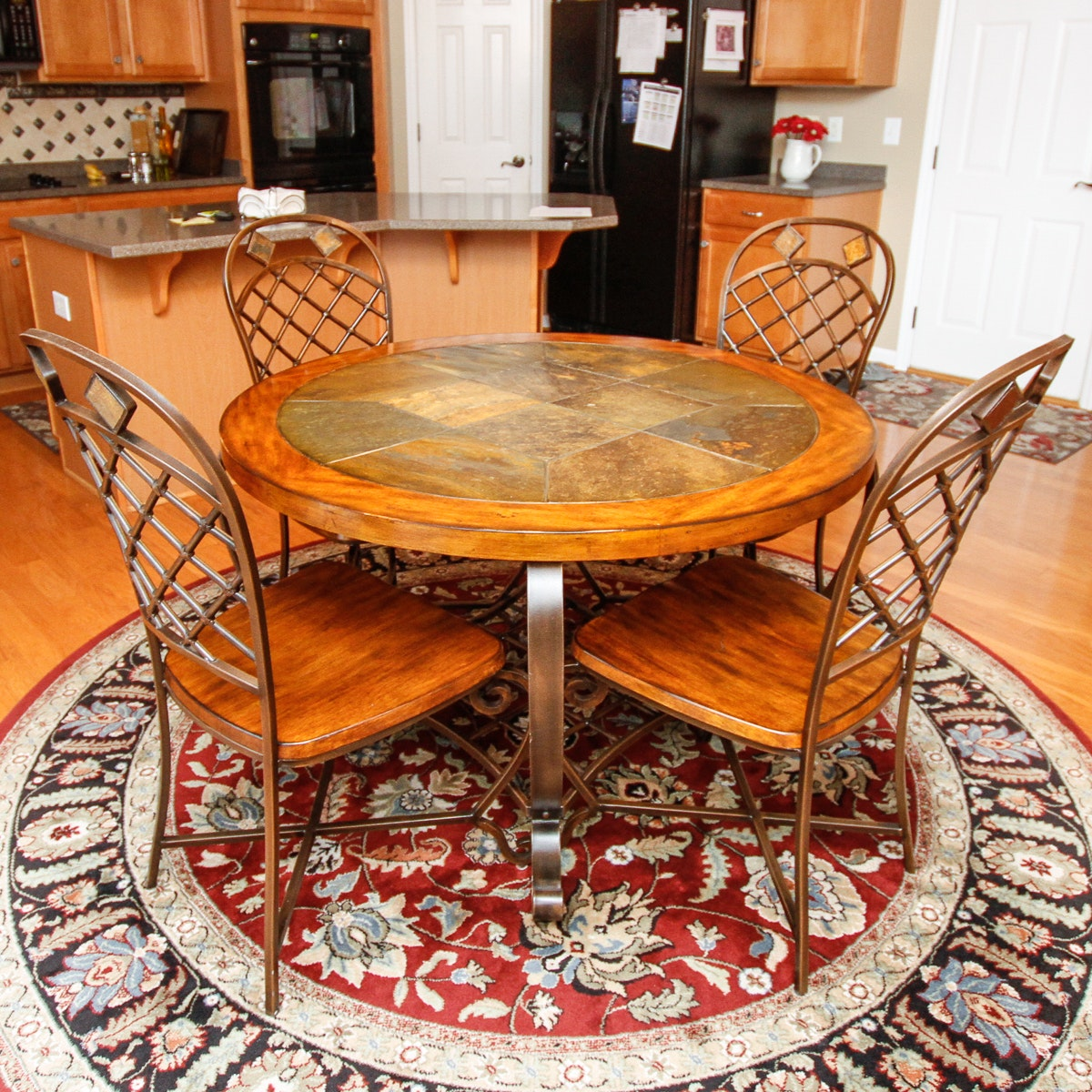 Tile and Walnut Topped Table and Chairs