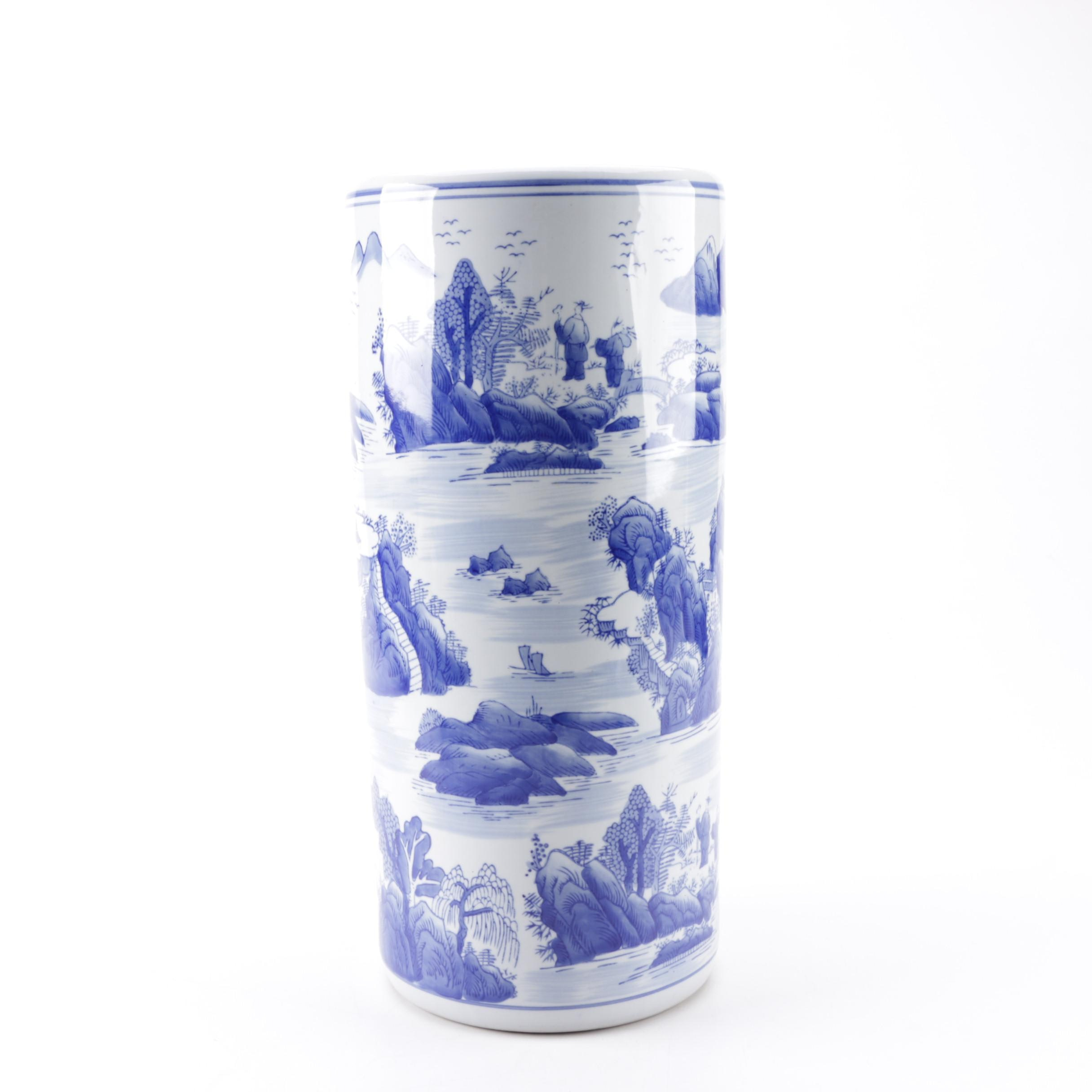 Blue and White Asian-Inspired Umbrella Stand