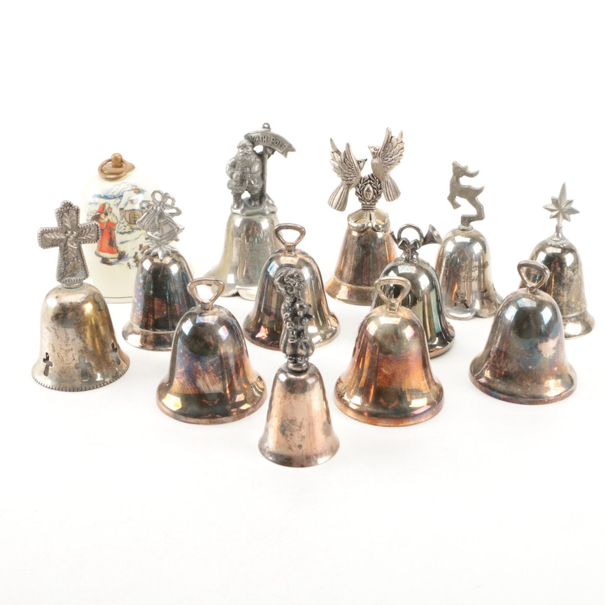 Annual silver plate christmas bells featuring reed