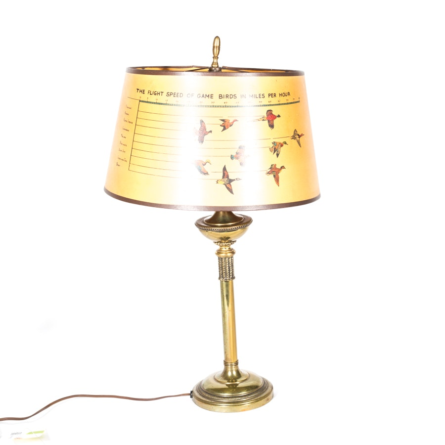 Vintage Brass Table Lamp with Novelty Shade
