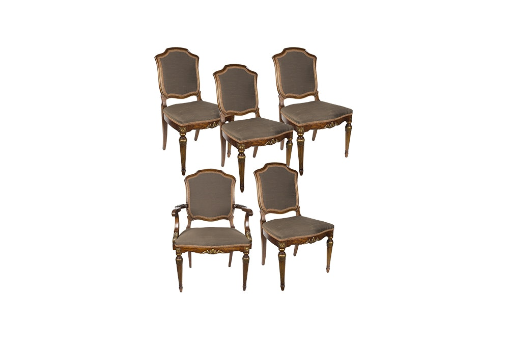 Set Of Federal Style Upholstered Dining Chairs ...