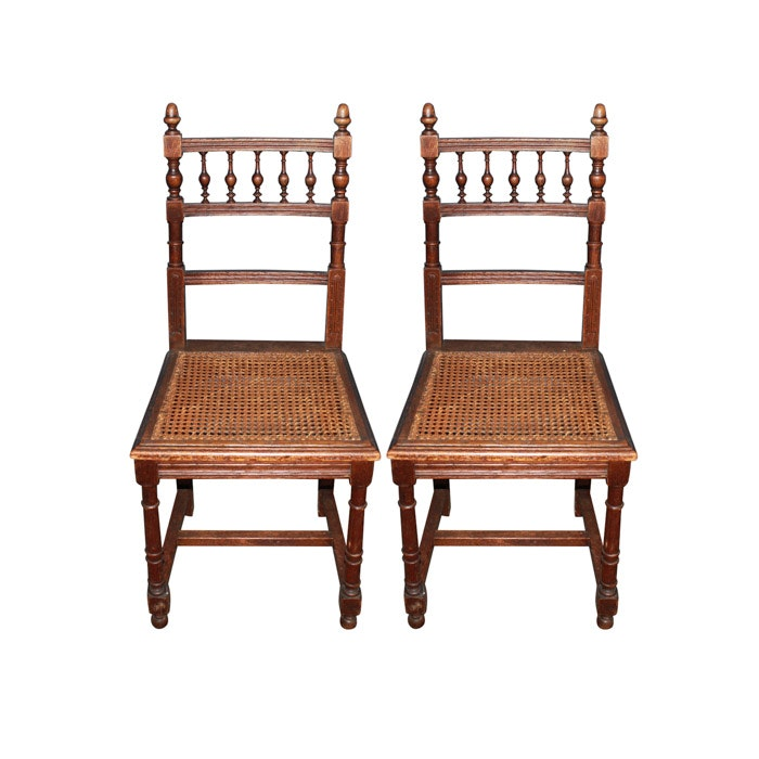 Pair of Oak and Caned Side Chairs