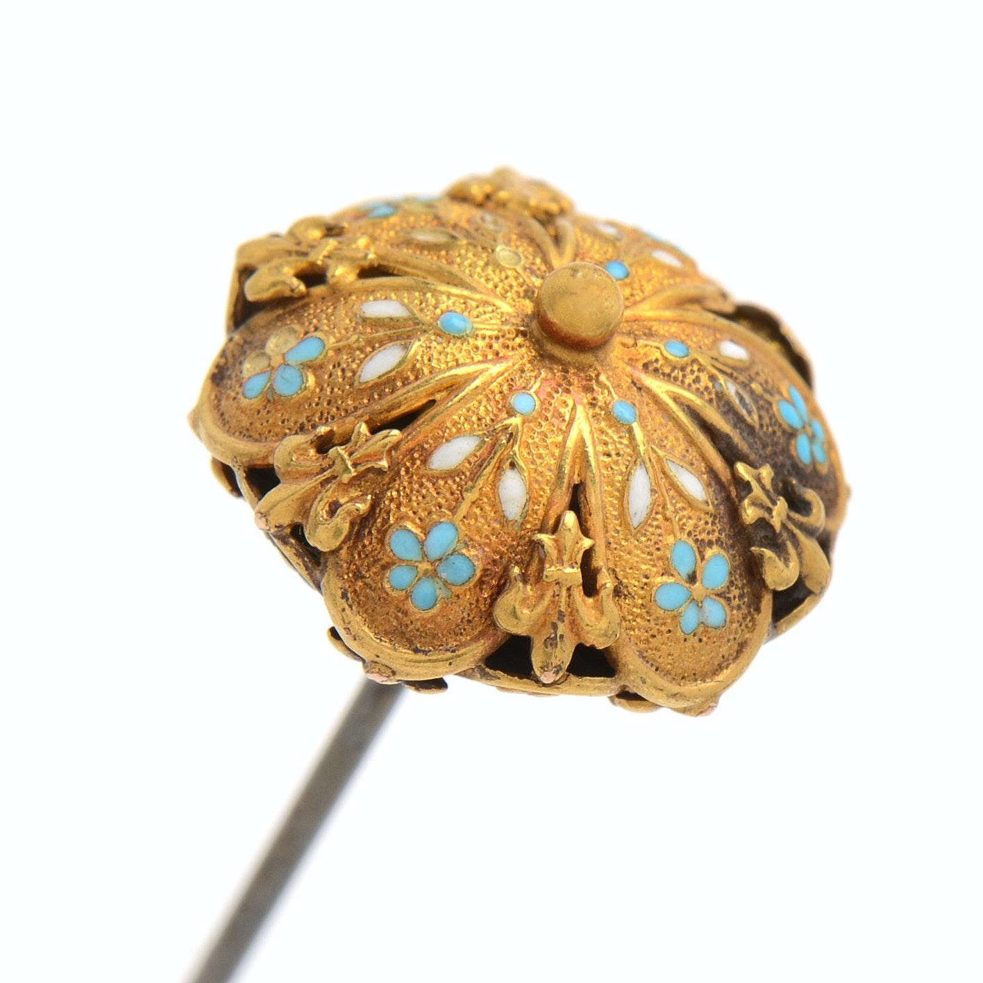 Vintage 14K Yellow Gold Enamel Hat Pin