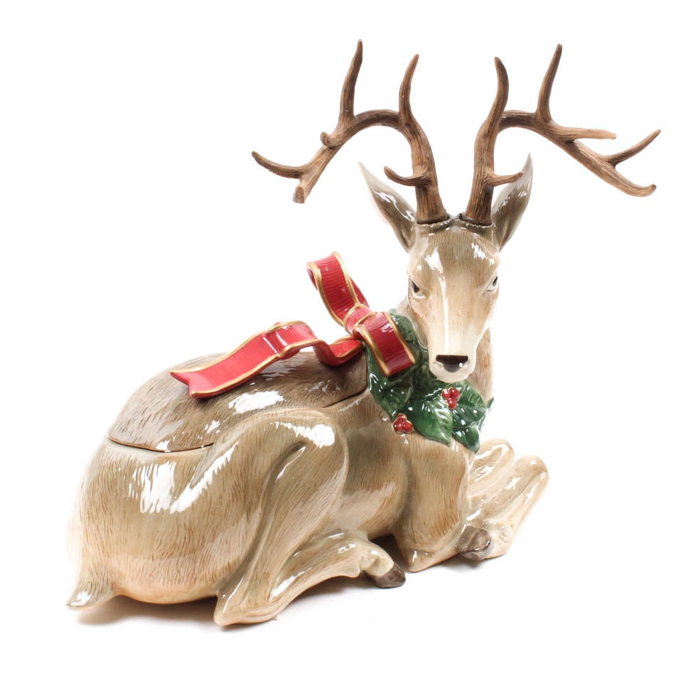 "Fitz and Floyd ""Holiday Leaves"" Centerpiece Deer"