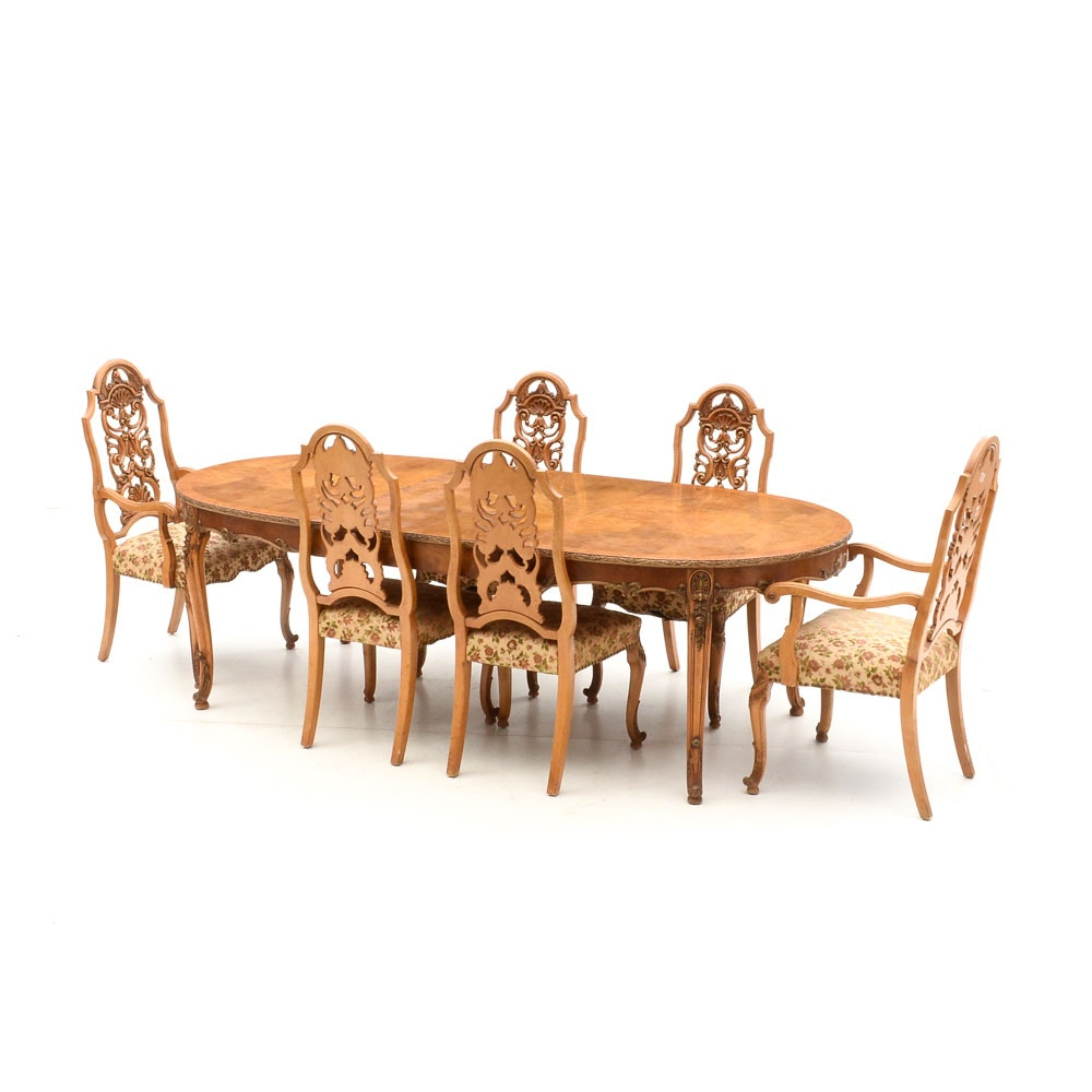 Maple Kitchen Table With Chair And Bench Ebth: Birdseye Maple Dining Table With Romweber Chairs : EBTH
