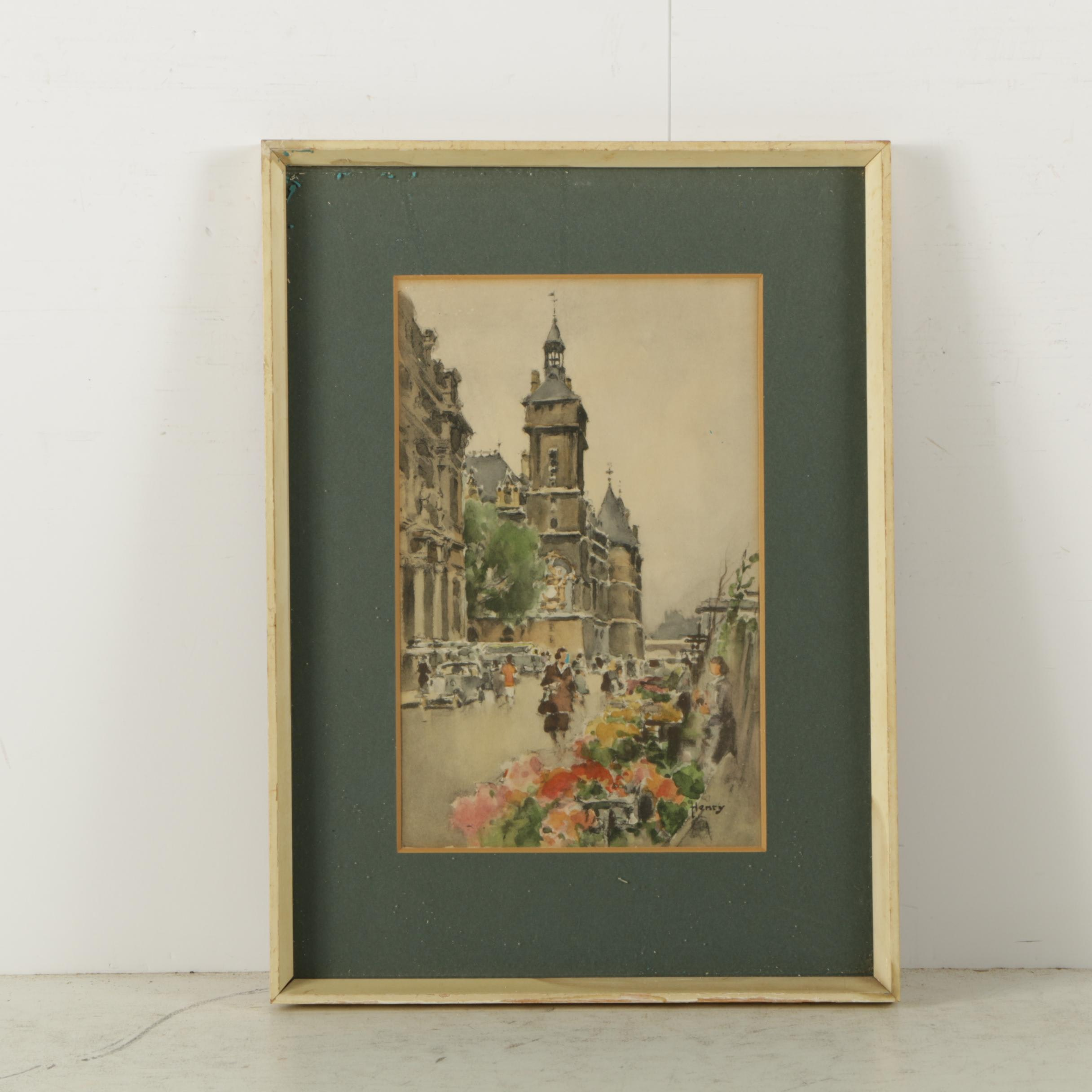 Lithograph Print on Paper After Henry Watercolor of Parisian Street Scene