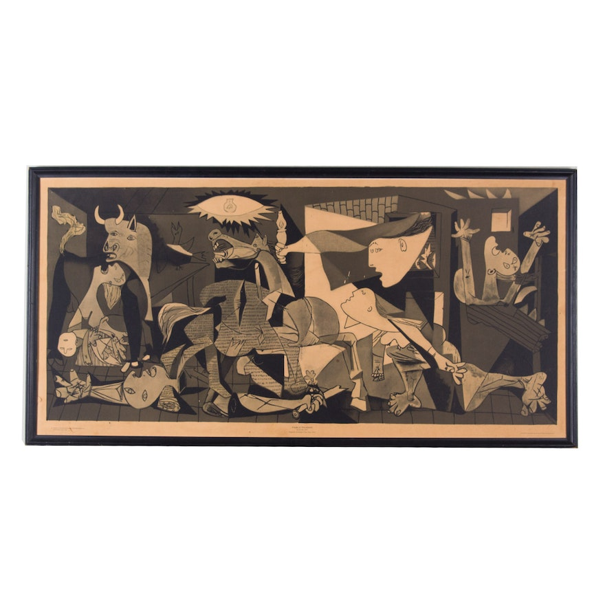 pablo picasso 1964 framed reproduction guernica poster ebth. Black Bedroom Furniture Sets. Home Design Ideas