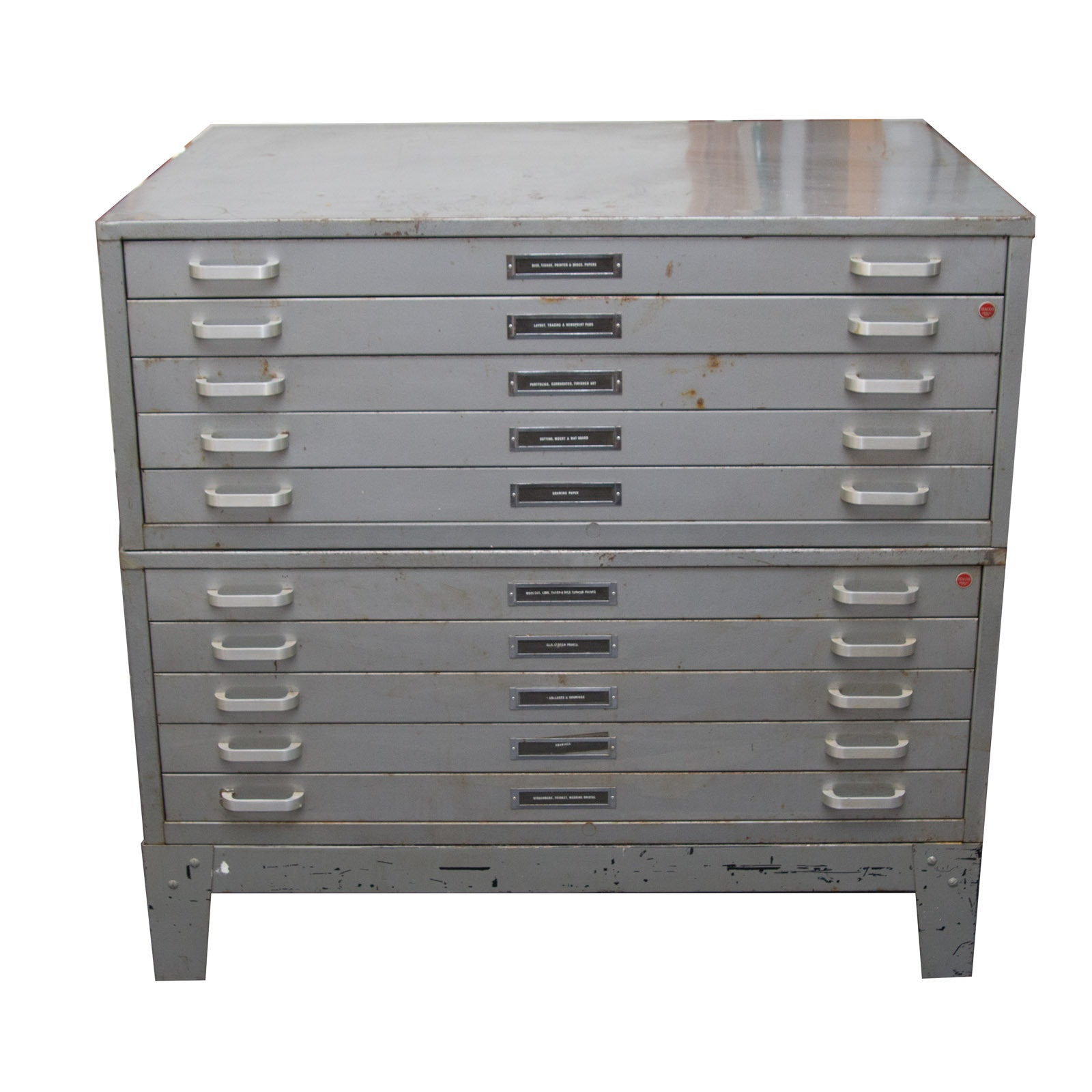 Two Stacor Five Drawer Flat File Cabinet With Stand ...