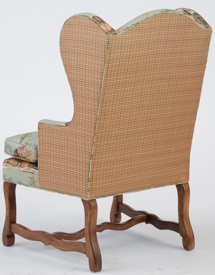 Upholstered Toile Wing Back Armchair By Pearson Furniture ...