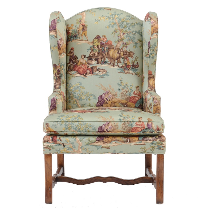 Upholstered Toile Wing Back Armchair By Pearson Furniture Ebth