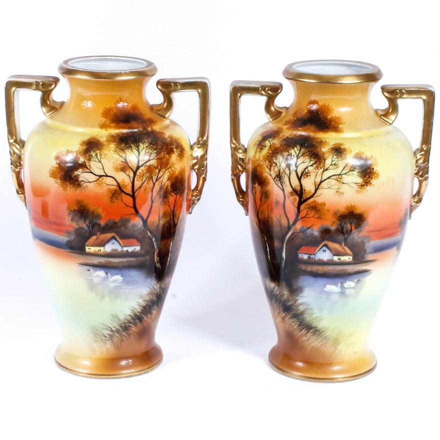 Matching Pair Of Hand Painted Noritake Vases Ebth