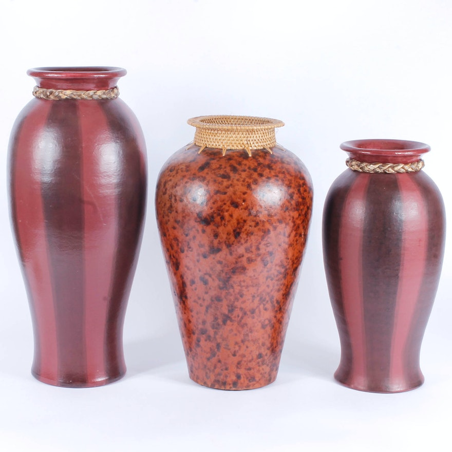 Group Of Red Decorative Vases Ebth