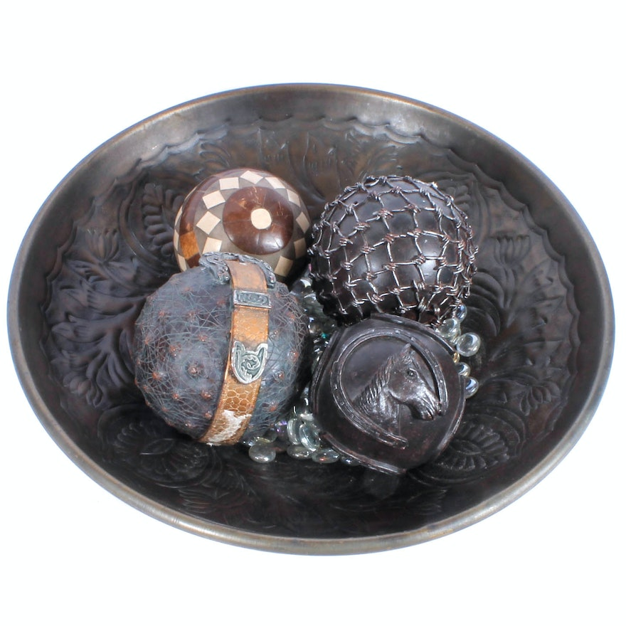 Decorative Orbs And Metal Bowl EBTH Gorgeous Decorative Orbs For Bowls