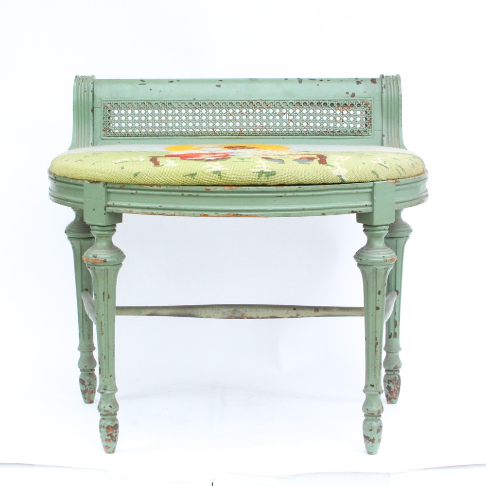 Vintage Sheraton Style Bench with Needlepoint Seat