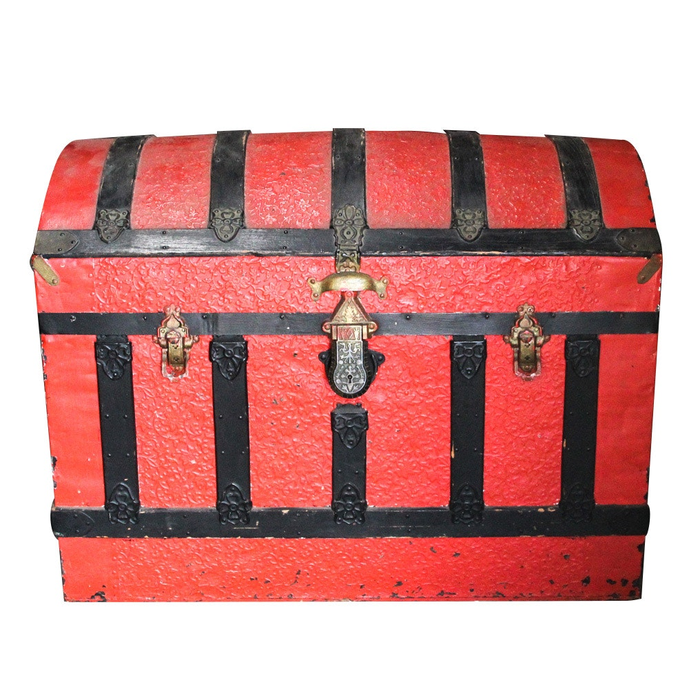 Red and Black Dome Top Steamer Trunk