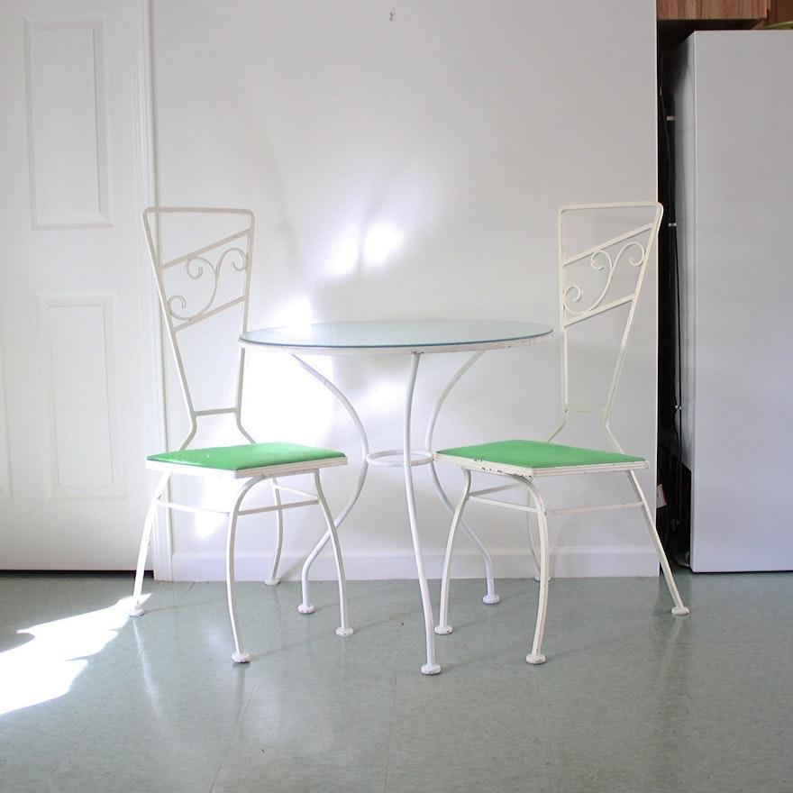 Vintage Mid Century Modern White Metal Bistro Table And Chairs EBTH - Mid century modern bistro table
