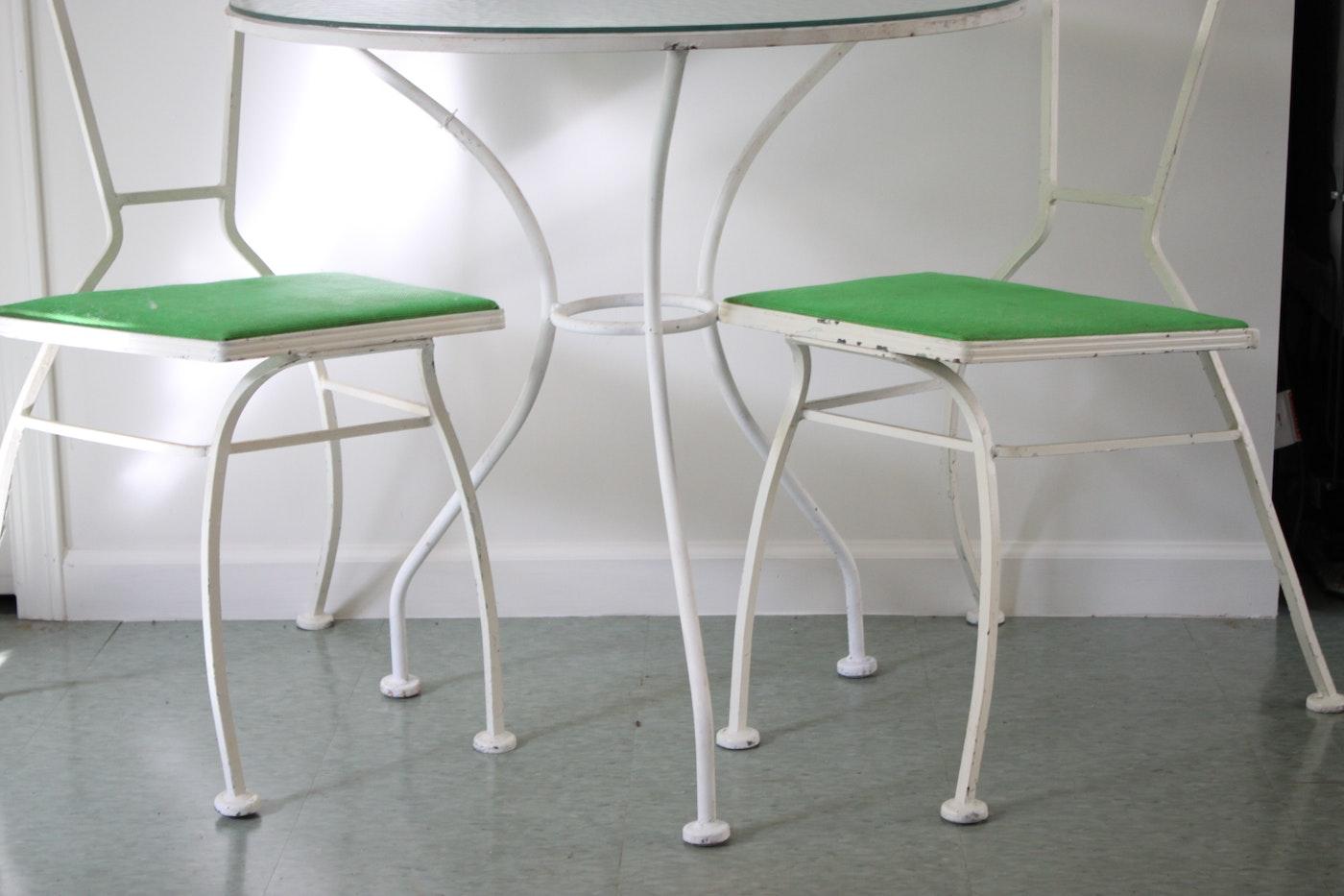 Vintage mid century modern white metal bistro table and for Mid century bistro table