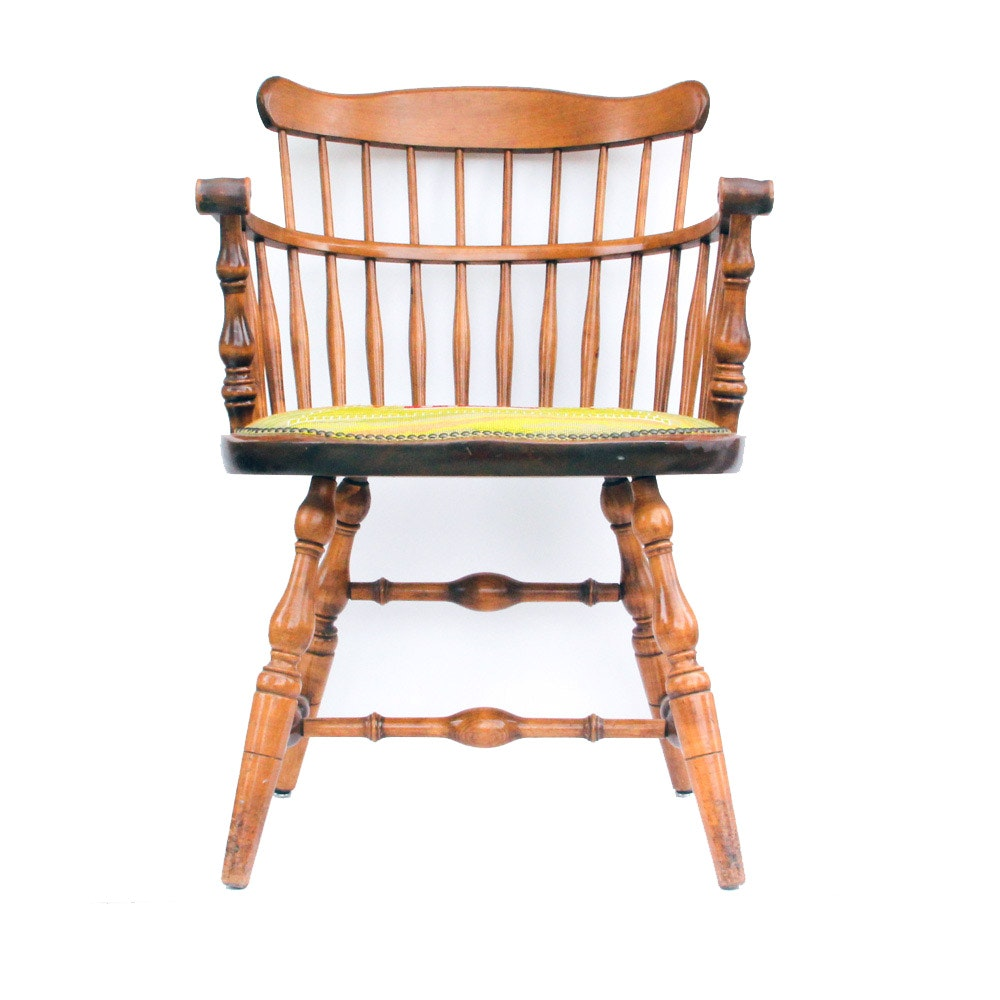 Windsor Style Armchair with Needlepoint Seat