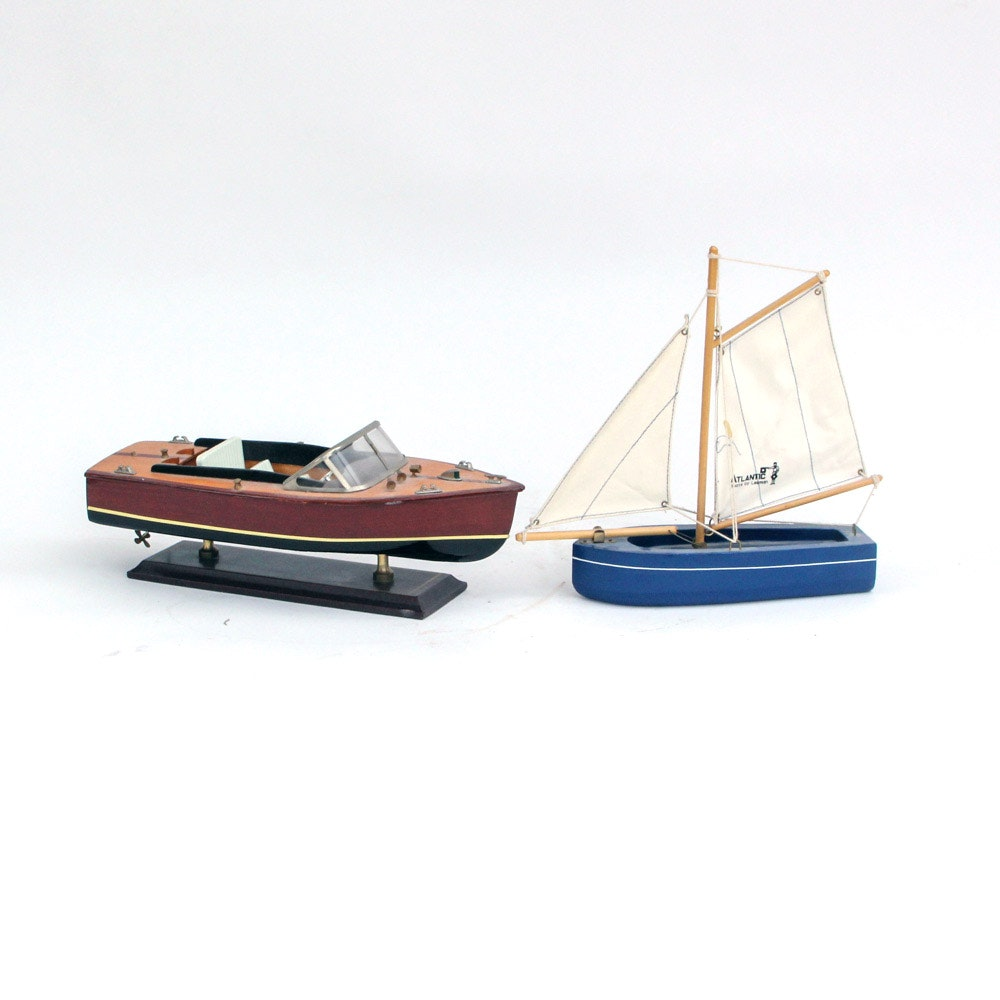 Pair of Wooden Decorative Boats