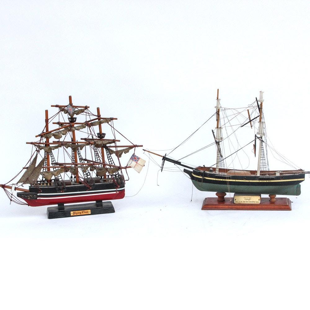Pair of Decorative Model Sailing Ships