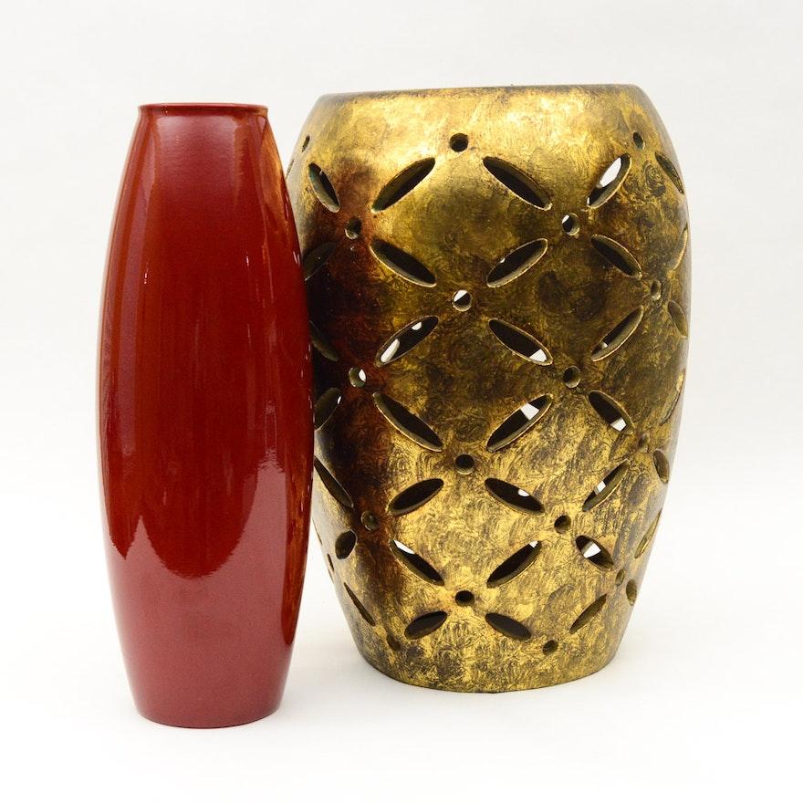 Red Floor Vase And Gold Garden Stool Ebth