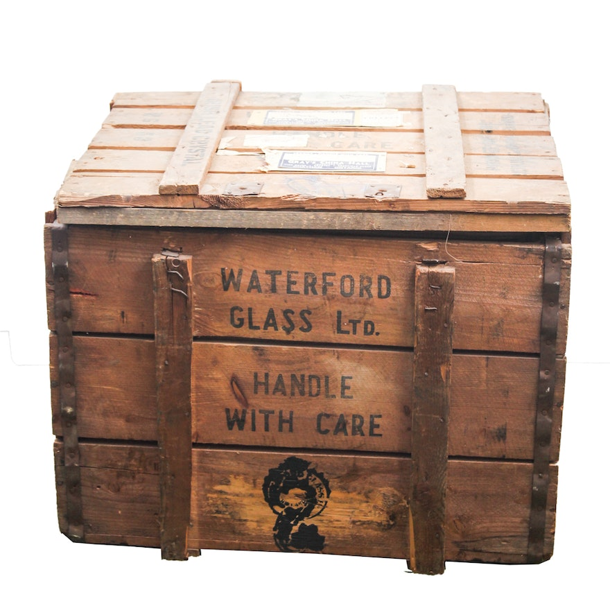 waterford glass ltd vintage wooden shipping crate - Wooden Shipping Crates