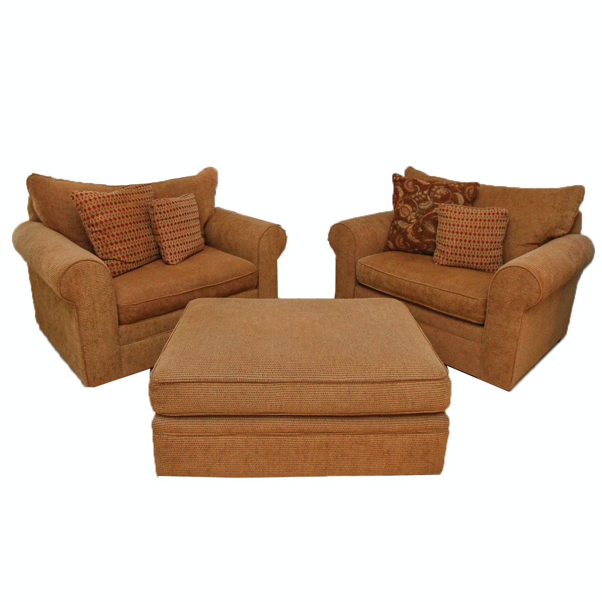 Pair of Sofa Chairs and Ottoman by Craftmaster Furniture