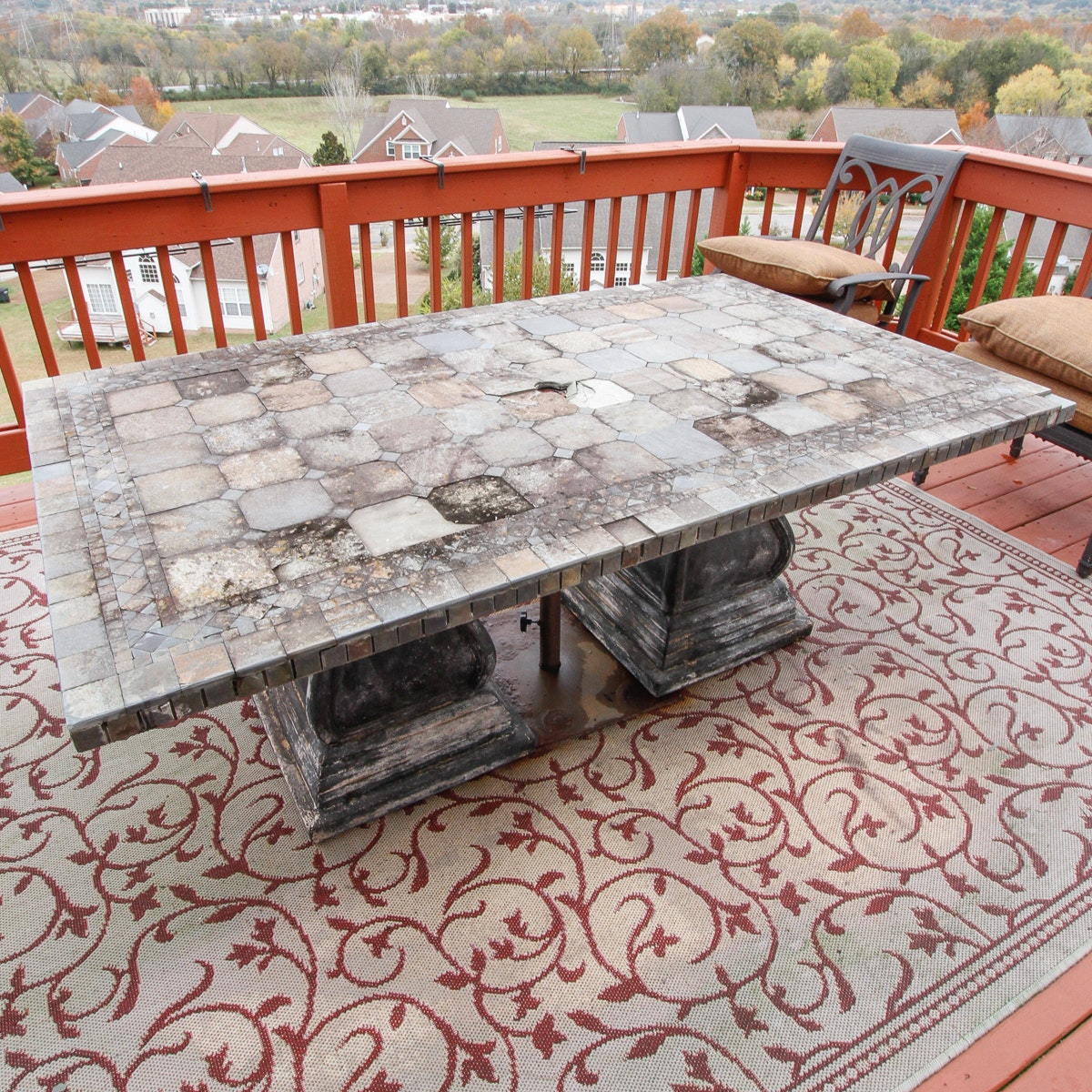 Rustic Tile Outdoor Table and Umbrella