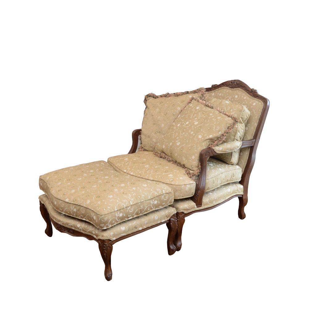Klaussner International Deep Seated Armchair With Ottoman ...