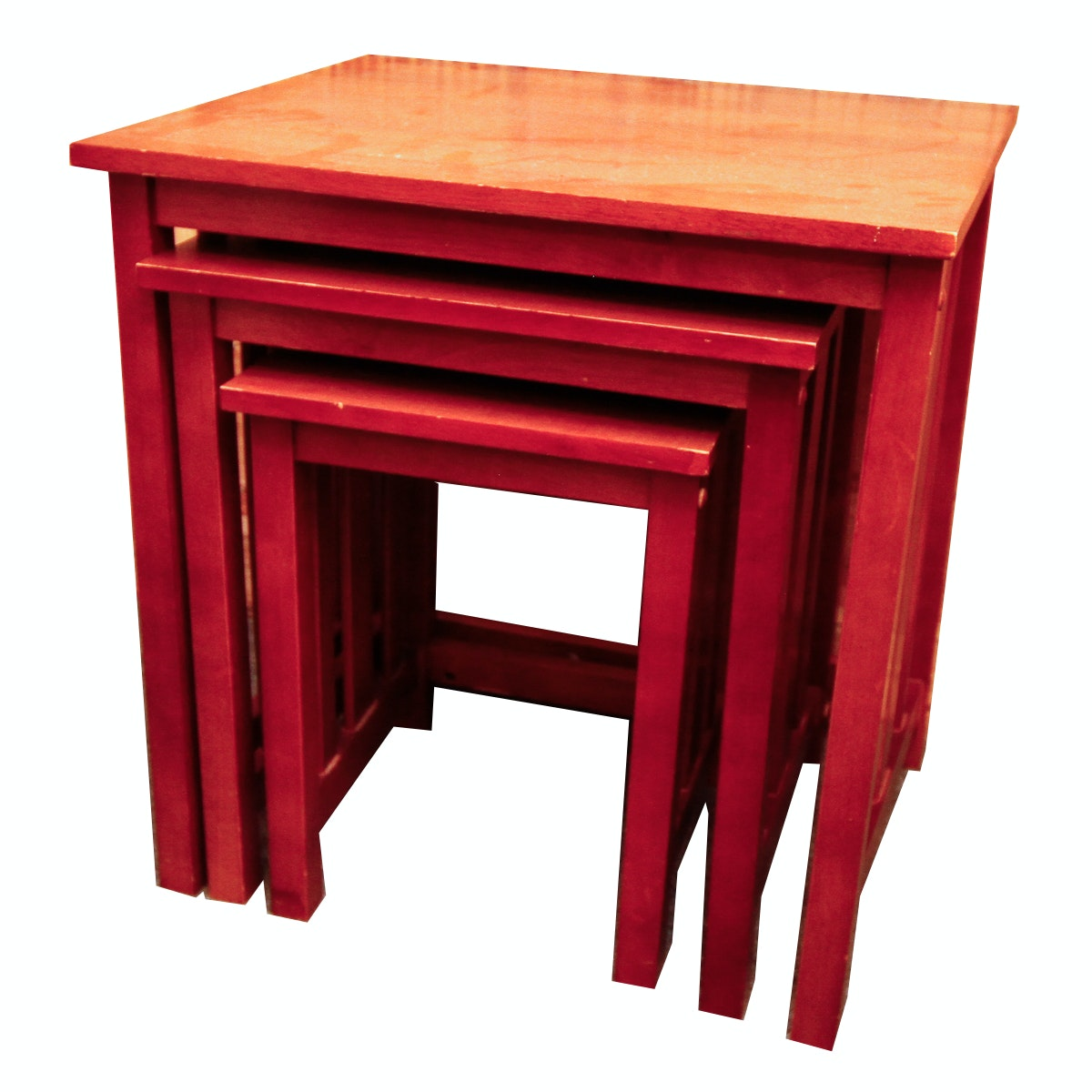 Red Painted Mission Style Nesting Tables