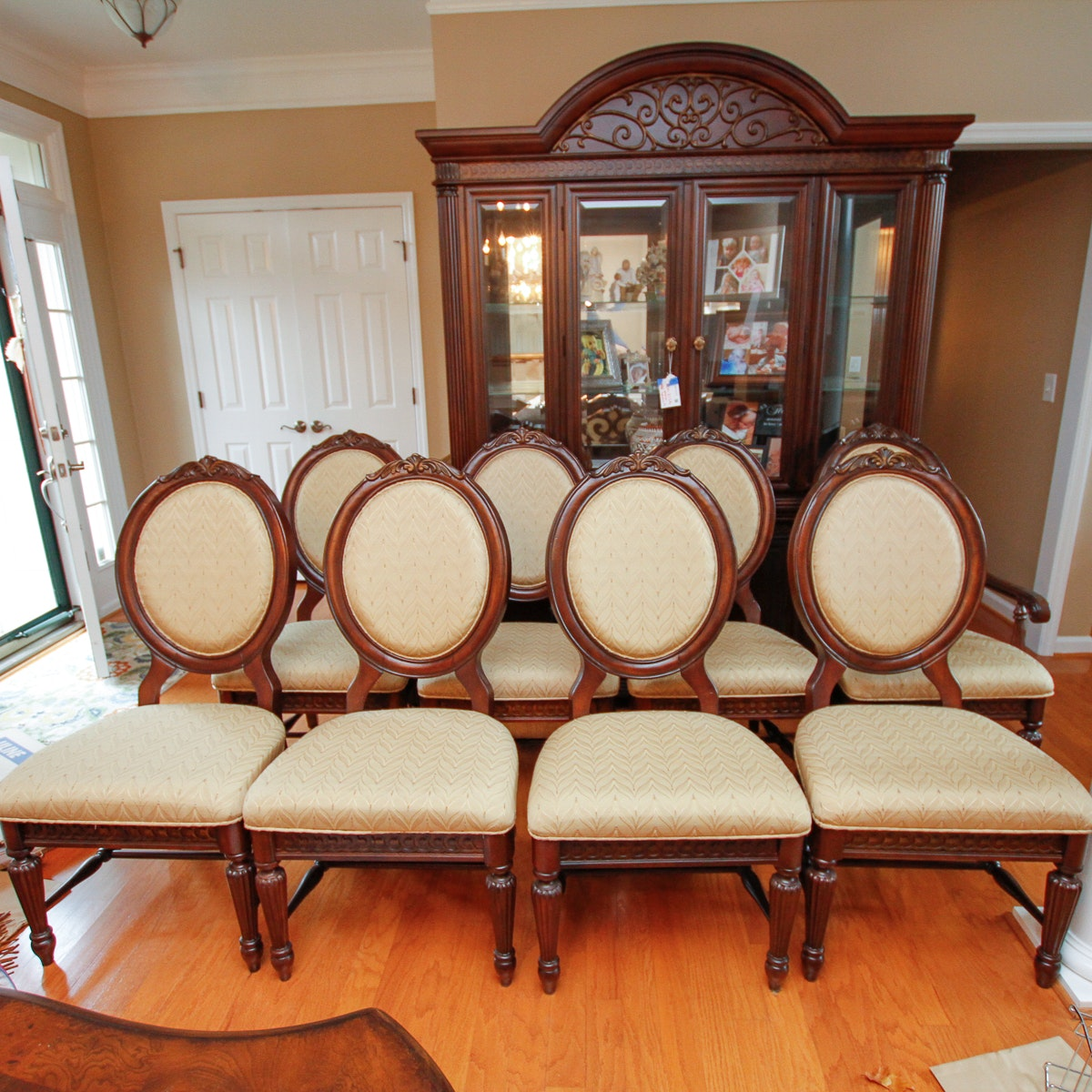 Eight Louis XVI Style Wooden Dining Chairs